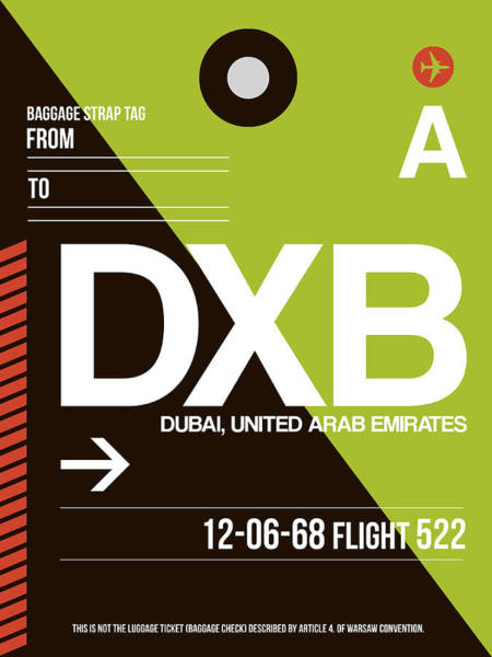 Wall Art - Digital Art - Dxb Dubai Luggage Tag II by Naxart Studio
