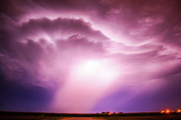 Photograph - Dying Late Night Supercell 005 by NebraskaSC