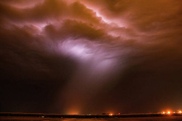 Photograph - Dying Late Night Supercell 009 by NebraskaSC