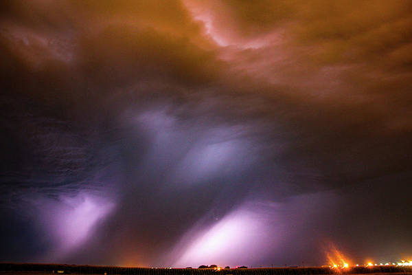 Photograph - Dying Late Night Supercell 012 by NebraskaSC