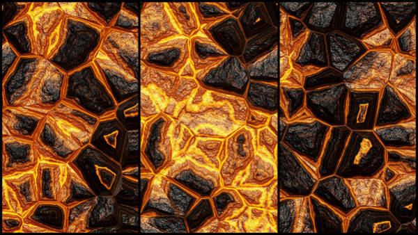 Digital Art - Dynamic Wall Abstract Triptych by Don Northup