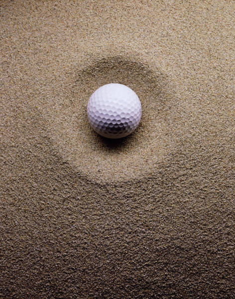 Ball Photograph - E1166 Close-up Of Golf Ball In Sand by Sokol,howard
