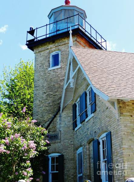 Wall Art - Photograph - Eagle Bluff Lighthouse Lilacs by Snapshot Studio