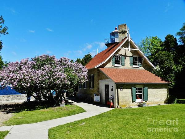 Wall Art - Photograph - Eagle Bluff Lilacs And Lighthouse by Snapshot Studio