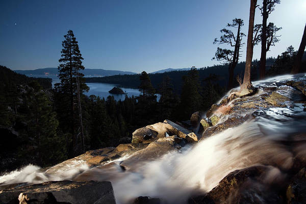 Lake Tahoe Photograph - Eagle Falls Is Illuminated At Night by Rachid Dahnoun