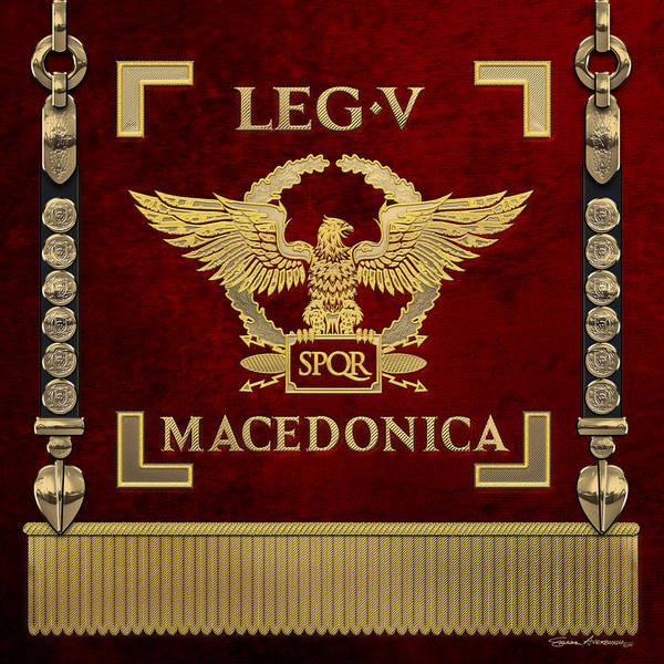 Digital Art - Eagle Over Red Standard Of The Fifth Macedonian Legion - Vexillum Of Legio V Macedonica by Serge Averbukh