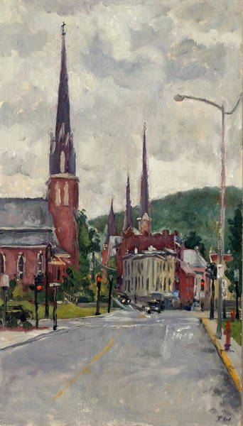 Painting - Eagle Street North Adams Rain by Thor Wickstrom