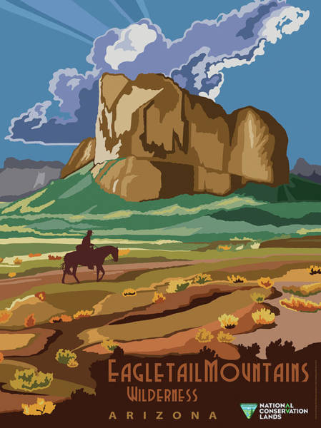 Wall Art - Mixed Media - Eagle Tail Mountains Wilderness Arizona Travel Poster by B L M