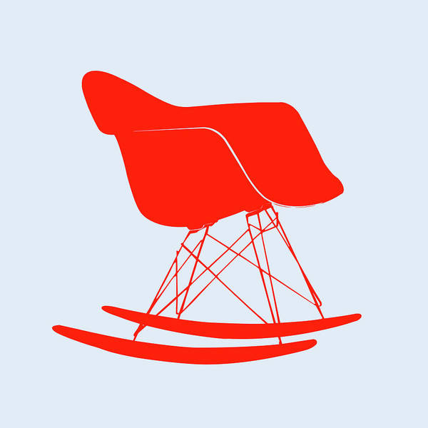 Mixed Media - Eames Rocking Chair Red by Naxart Studio