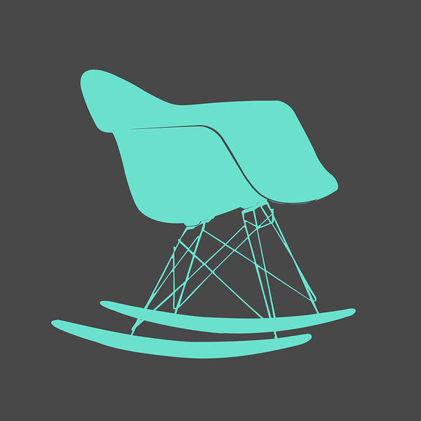 Mixed Media - Eames Rocking Chair Teal by Naxart Studio