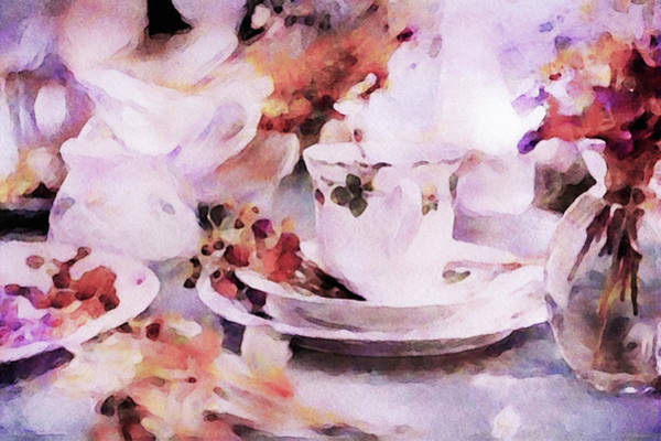Mixed Media - Earl Grey In A Fine China Teacup by Susan Maxwell Schmidt