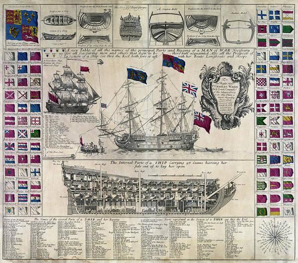 Wall Art - Photograph - Early 18th Century British Man Of War Ship Diagram by Daniel Hagerman