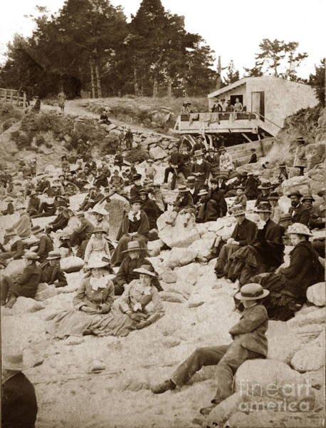 Photograph - Early Beach-goers At The Main Beach Near Lovers Point Pacific Grove  Circa 1885 by California Views Archives Mr Pat Hathaway Archives