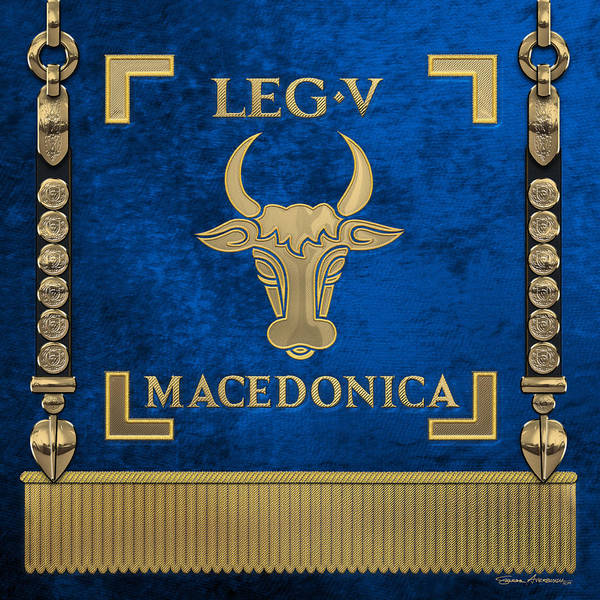 Digital Art - Early Bull Over Blue Standard Of The Fifth Macedonian Legion - Vexilloid Of Legio V Macedonica by Serge Averbukh