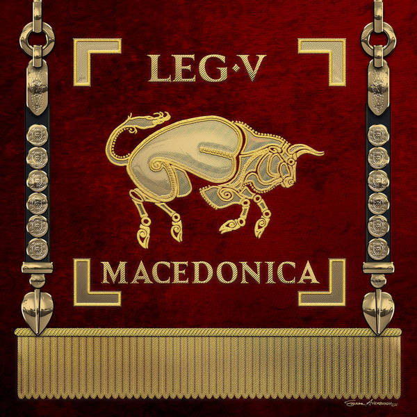Digital Art - Early Bull Over Red Standard Of The Fifth Macedonian Legion - Vexilloid Of Legio V Macedonica by Serge Averbukh