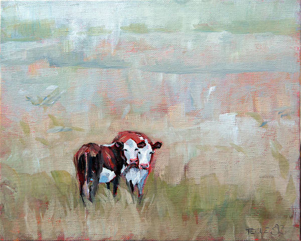 Painting - Early Morning Cows by Trina Teele
