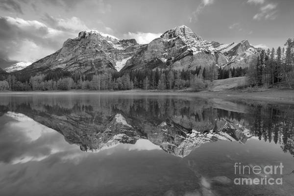 Photograph - Early Morning Kananaskis Reflections Black And White by Adam Jewell