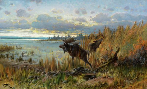 Wall Art - Painting - Early Morning Moose, Northern Montana by John Fery