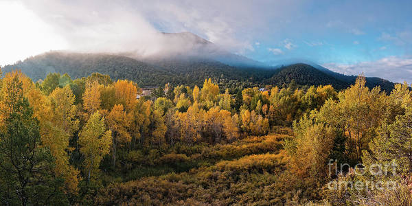 Wall Art - Photograph - Early Morning Panorama Of Changing Aspens And Picacho Peak - Twomile Reservoir - Santa Fe New Mexico by Silvio Ligutti