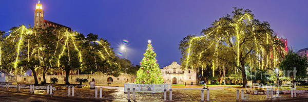 Wall Art - Photograph - Early Morning Panorama Of Christmas Tree And Lights At The Alamo Mission - San Antonio Texas by Silvio Ligutti