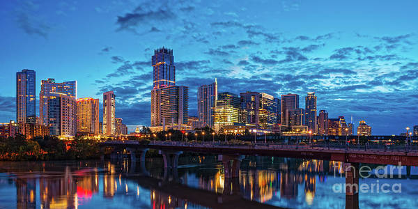 Photograph - Early Morning Panorama Of Downtown Austin From South Lamar Bridge Over Lady Bird Lake - Austin Texas by Silvio Ligutti