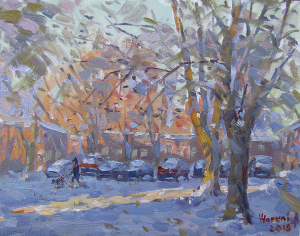 Snow Scene Painting - Early Morning Winter Scene by Ylli Haruni
