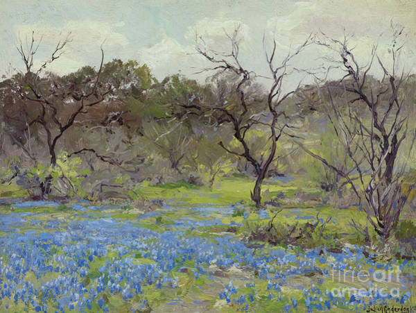Wall Art - Painting - Early Spring Bluebonnets And Mesquite, 1919 by Julian Onderdonk