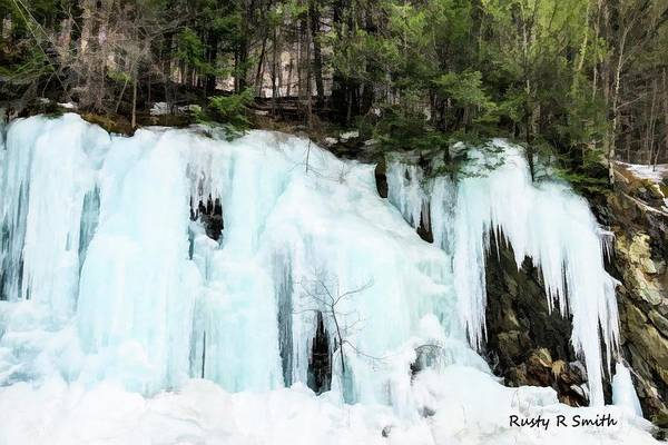 Photograph - Early Spring Cliff Ice Flow Southern Vermont. by Ronald R Smith