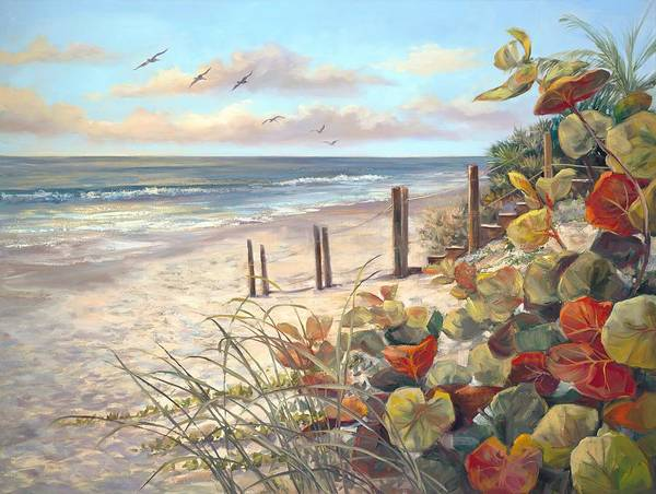 Sea Oats Painting - Early Tag Alone by Laurie Snow Hein