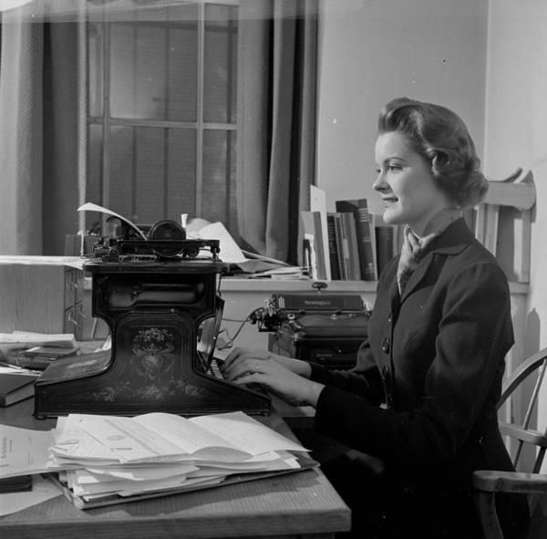 Secretary Photograph - Early Typewriter by Pet