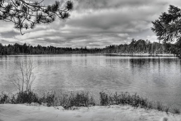Photograph - Early Winter On Swanson Lake Bw by Dale Kauzlaric