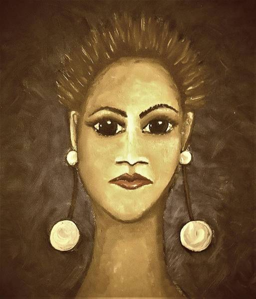 Painting - Earringed Woman Sepia by Joan Stratton