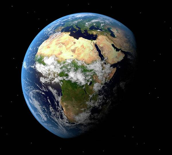 Color Image Digital Art - Earth, Artwork by Science Photo Library - Roger Harris.
