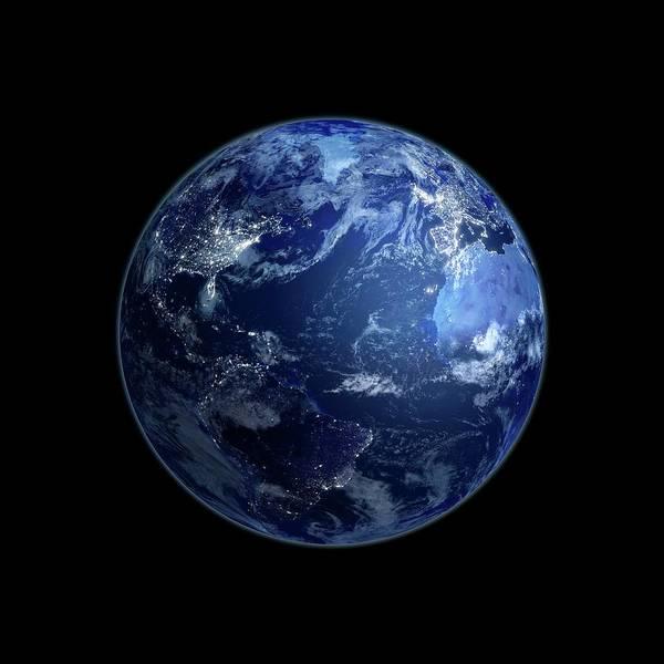 Square Digital Art - Earth At Night, Artwork by Andrzej Wojcicki
