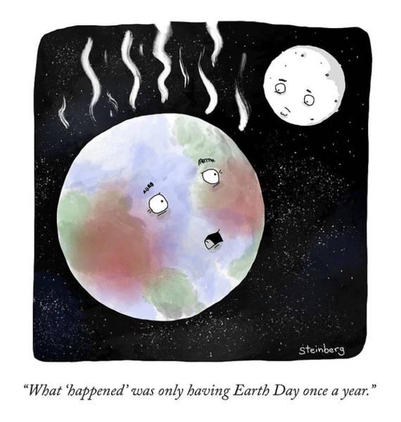 Avi Steinberg Drawing - Earth Day by Avi Steinberg