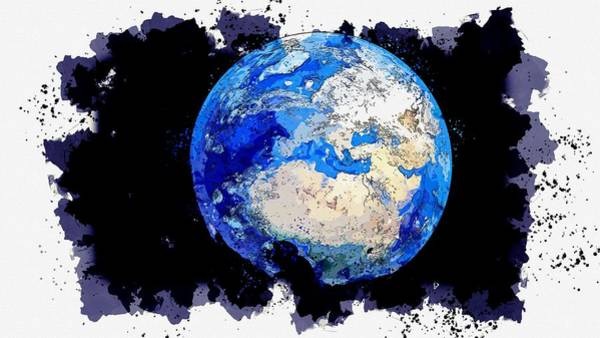 Wall Art - Painting - Earth From Space   Watercolor By Ahmet Asar by Ahmet Asar