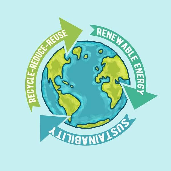 Earth Day Digital Art - Earth Sustainability by Laura Ostrowski