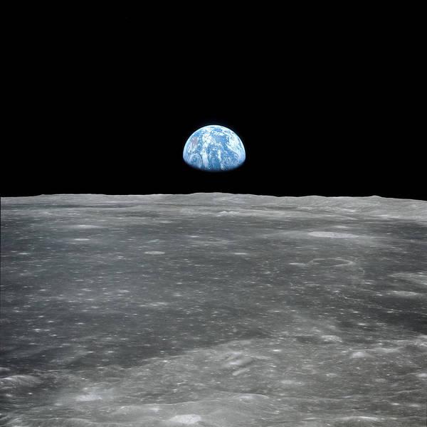 Pale Blue Dot Wall Art - Photograph - Earthrise - Apollo 11 by Nasa