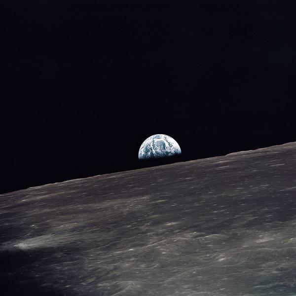 Pale Blue Dot Wall Art - Photograph - Earthrise On Apollo 11 by Nasa