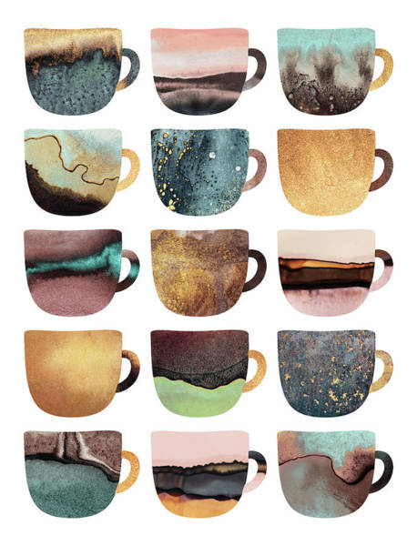 Cup Digital Art - Earthy Coffee Cups by Elisabeth Fredriksson