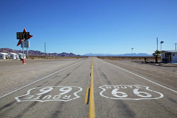 Text Photograph - East And West Bound Route 66 Symbols by Kevin T. Levesque