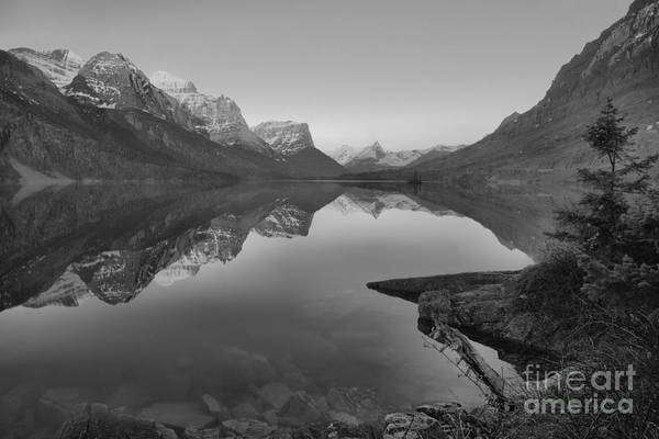 Photograph - East Glacier St. Mary Spring Sunrise Black And White by Adam Jewell