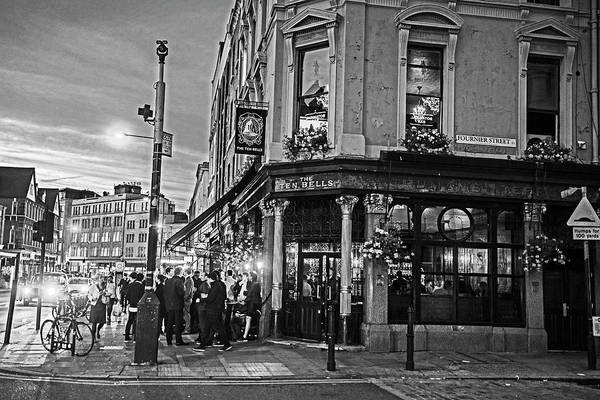 Photograph - East London Nightlife Ten Bells Fournier Street London Uk United Kingdom Black And White by Toby McGuire