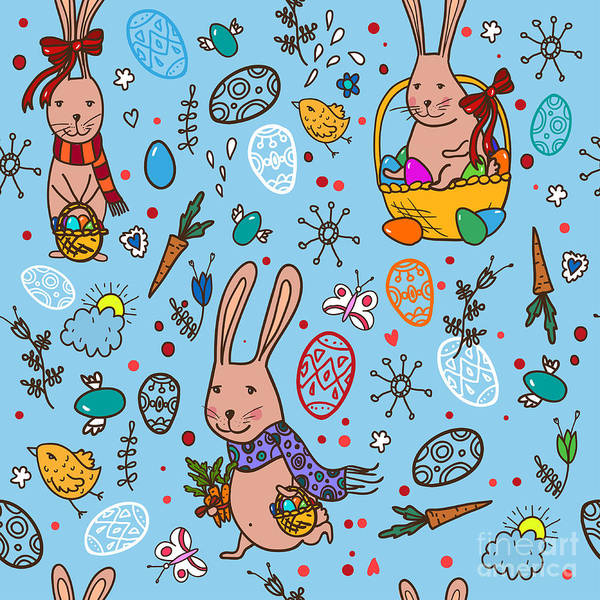 Wall Art - Digital Art - Easter Bunny Pattern by Veron ice