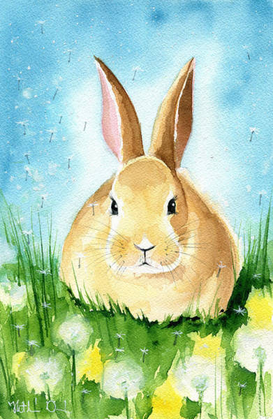 Painting - Easter Bunny With Dandelions by Dora Hathazi Mendes