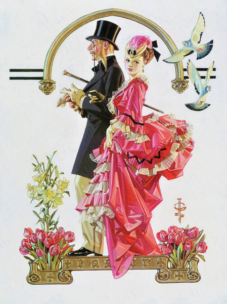 Wall Art - Painting - Easter Couple - Digital Remastered Edition by Joseph Christian Leyendecker