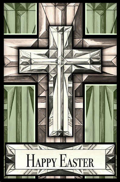 Wall Art - Mixed Media - Easter Greetings Cross by Diannart