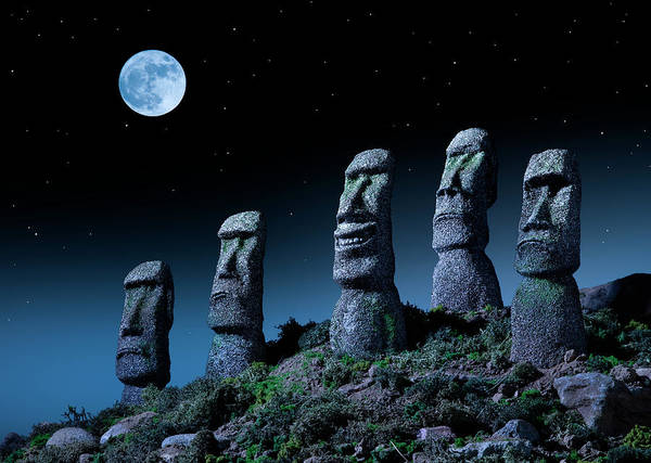 Polynesian Photograph - Easter Island Heads, One Smiling At by Don Farrall
