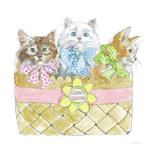 Wall Art - Painting - Easter Kitties I by Beth Grove