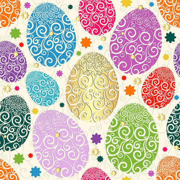 Wall Art - Digital Art - Easter Seamless Pattern With Colorful by Olga Drozdova